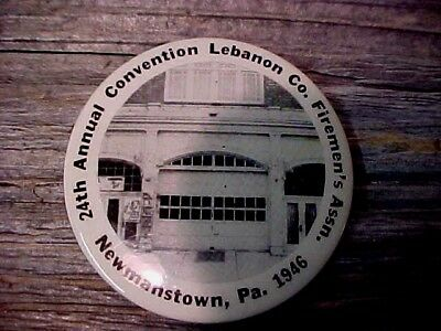 Vintage 24th Lebanon Co Fireman's Convention,Newmanstown,Pa 1946 Pocket Mirror