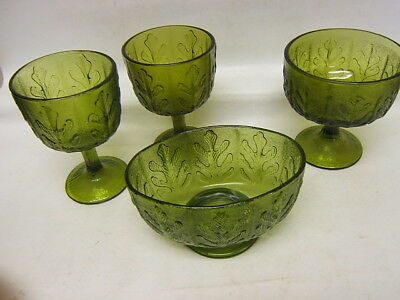 Avacado Green Glass lot of 4 footed Vases/Planters/Compote 1978 FTD VGC