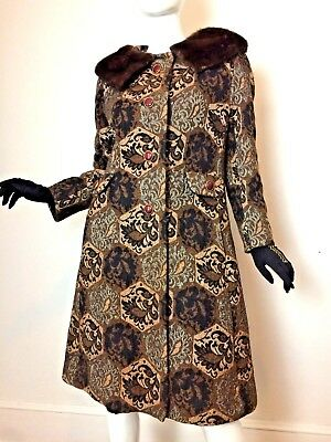 Vintage 50s 60s Tapestry Brocade Coat with Mink Fur Collar S/M