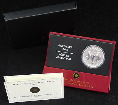 2005 Canada 5$ Dollars Fine Silver Coin 60Th Anniversary Of End Of Ww2