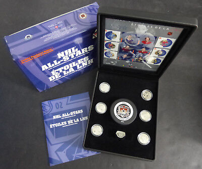 2002 Canada 50 Cents Set Of 6 Coins & Stamps Nhl All-Stars