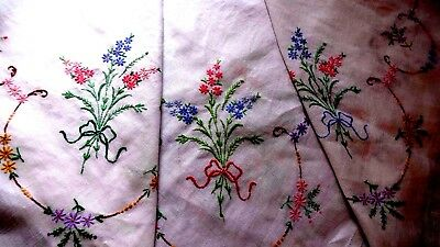 VINTAGE HAND EMBROIDERED - WHITE LINEN TABLECLOTH ~all over fabulous embroidery