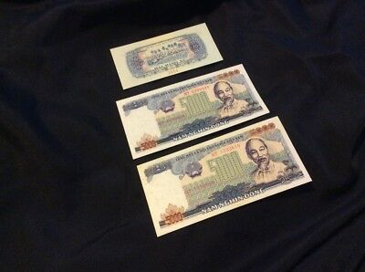 Vtg Lot 3 Vietnam Bank Notes 1966 Specimen Giay Mau 20 Note 1987 5000 Dong Notes
