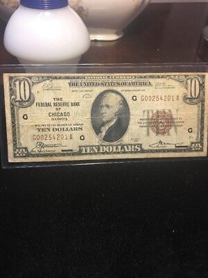 Series of 1929 $10 The Federal Reserve Bank of Chicago National currency note NR