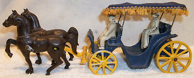 Vintage Stanley Toy Cast Iron Horse & Buggy Carriage Surrey w/ Fringed Canopy