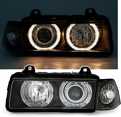 NEW SET ANGEL EYES HEADLIGHTS LAMPS für BMW E36 Coupe Convertible BLACK