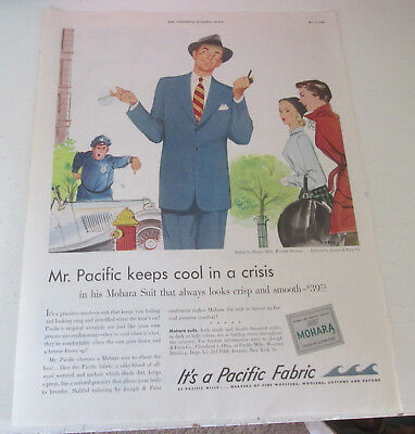 1950 original ad Pacific Fabrics Policeman Scolds Handsome Man Parked by Hydrant