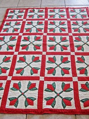 GORGEOUS 1940's Era Handmade Hand Quilted All Cotton Red & Green Tulip Quilt EXC
