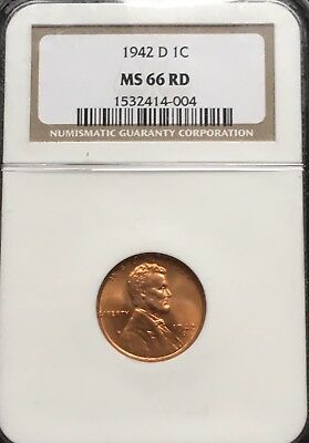 Beautiful Superb Gem BU 1942-D Lincoln Wheat Cent NGC MS66 RD. High Grade!