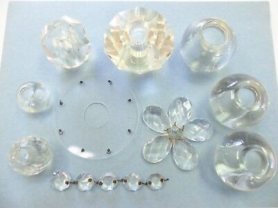Assorted Vintage Crystal Glass Ball Lamp Parts Antique Prisms Knobs Lot of 10