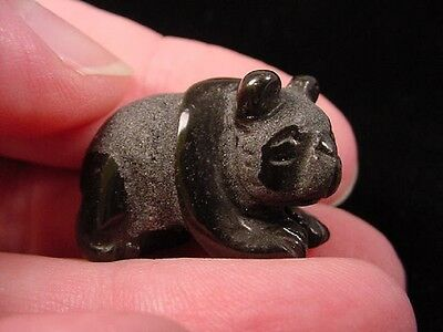 "(Y-PAND-500) 1"" baby PANDA BEAR bears Black Onyx carving FIGURINE gemstone"