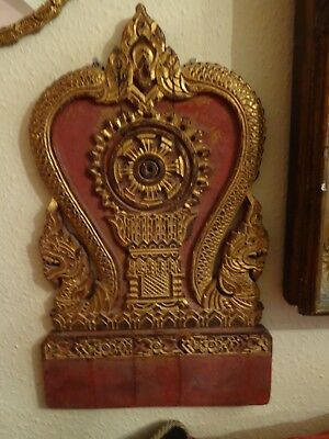 Large Antique  Burmese / Thai  Carved Hardwood Shrine  Naga / Karma Wheel Figure