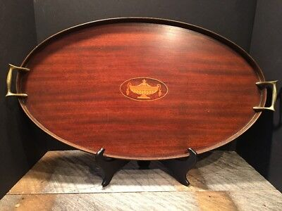 Antique Mahogany Inlaid Butler Oval Serving Tray Signed E.F.S. Maker 14x24