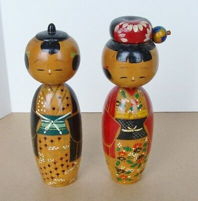"Pair Vintage Kokeshi Wood Bobble Head 7"" Tall Japanese Dolls"