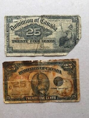 Lot of 2 1900 1923 Dominion of Canada 25 cent Bank Note Shinplaster Fractional $