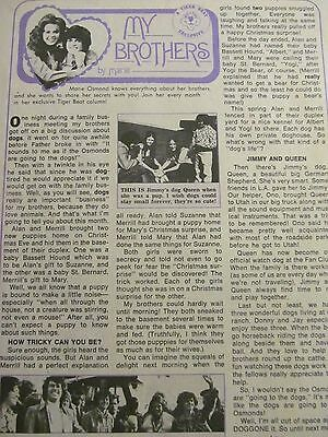 The Osmonds, Donny, Osmond Brothers, Full Page Vintage Clipping