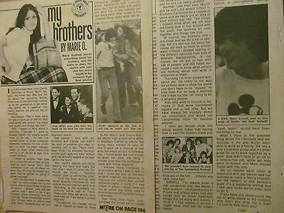 The Osmonds, Donny, Osmond Brothers, Two Page Vintage Clipping, Marie