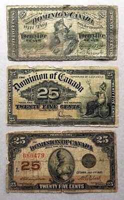 Lot of 3 - 1870 1900 1923 Dominion of Canada 25 cent Bank Note Shinplaster # 8