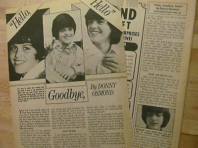 Donny Osmond, The Osmonds, Three Page Vintage Clipping