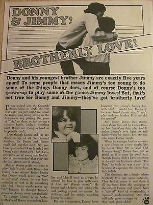 Jimmy Osmond, The Osmonds, Full Page Vintage Clipping, Donny