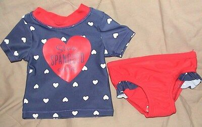 Star Spangled Cutie-Blue & Red Swimsuit With Hearts-Carters-Size 12 Months-Nwt