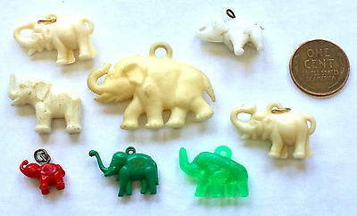 Vintage Lot Of 8 Plastic Elephants Cracker Jack Prizes / Gumball Charms