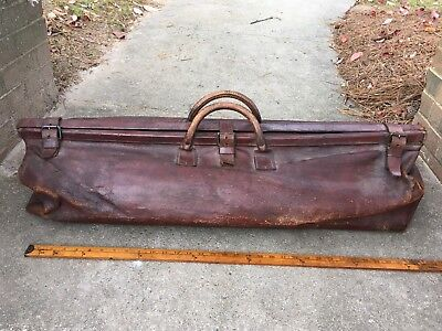 """Early Rare Antique LARGE Exotic Leather Doctor's Surgical Case 36"""""""