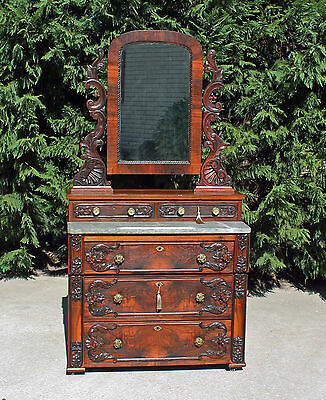 Outstanding Highly Carved Rosewood Early Victorian Marble Top Dresser w Keys