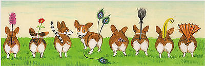 12X4 Print Of Painting Ryta Pembroke Welsh Corgi Folk Art Whimsical Fantasy Dogs