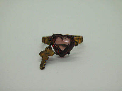 Antique Czech Purple Glass Heart w/Charm Key RING sz4.25 childs Art Deco vintage