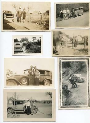 28 Vintage photo lot of Classic Automobiles & cars OLD SNAPSHOTS 1920's-1940's