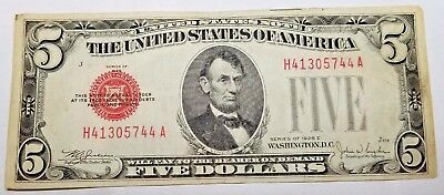 1928E Five Dollar U.S. Note Red Seal Fr 1530 H41305744A Plate J578 No Reserve
