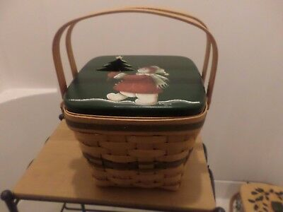 Longaberger Holiday Cranberry Basket Combo With  Unique Wood Painted Lid