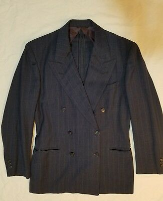 Vintage 1940s Men's Double Breasted Suit, Dark Blue with Pinstripe, Med/Large