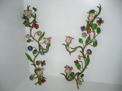 Vintage Pair Italian Florentine Tole Toleware Floral Wall Sconces Candle Holders