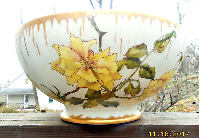 Antique T&v Limoges Large Footed Punch Bowl Roses & Leaf Thorns In The Rain