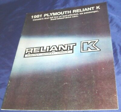 BS407 1981 Plymouth Reliant K Dealer Sales Brochure
