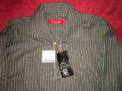 Boys Kurta Brown Striped Shirt Size XL Linen Studio NEW NWT
