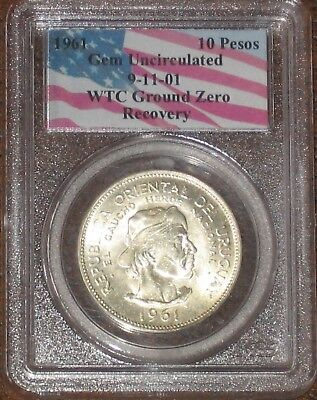 WTC 1961 10 Peso Silver World Trade Center Recovery PCGS Certified Uncirculated