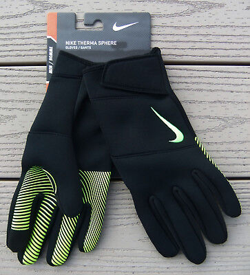 "NWT NIKE ""Therma Sphere"" Mens Training Gloves-XL Ret@$40 BLACK/VOLT"