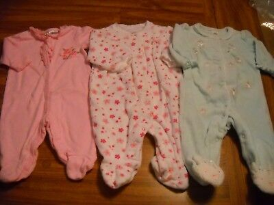 Baby Girl SLEEPERS, 0-3 Months, Lot of 3, EUC! Free Shipping!
