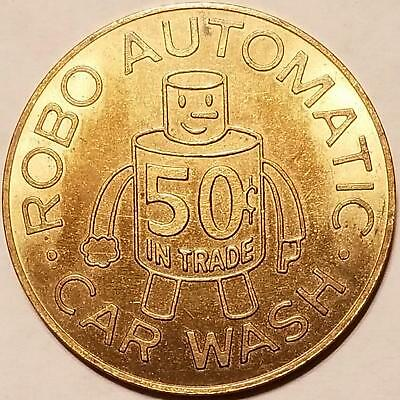Vintage Car Wash Token ROBO AUTOMATIC MESA, ARIZONA Robot Cartoon Man Pictorial