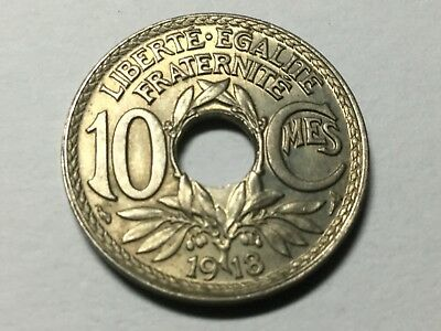 FRANCE 1918 10 centimes coin about uncirculated