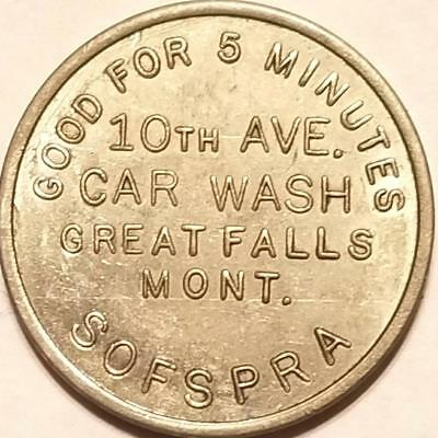 Car Wash Trade Token SOFSPRA COIN-OP 5 MINUTE WASH GREAT FALLS MONTANA 25 Cents