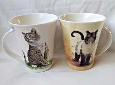 Alex Clark Queens China Set 2 Cat Design Coffee Mugs Siamese & Kittens Adorable