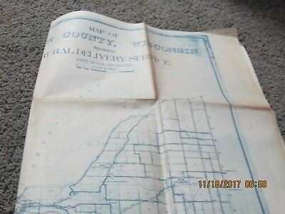 MAP OF BROWN COUNTY, WISCONSIN SHOWING RURAL DELIVERY SERVICE. Old reprint map