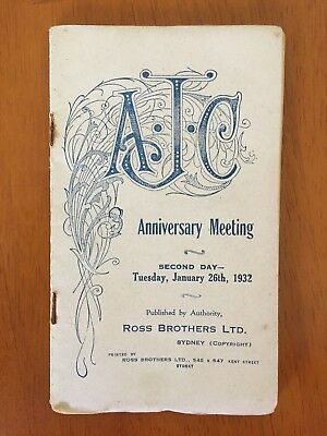 1932 AJC Anniversary Meeting Day 2 race book Adrian Knox Stakes