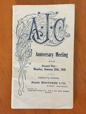 1935 AJC Anniversary Meeting Day 2 race book Adrian Knox Stakes