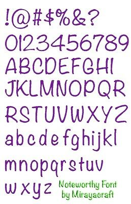 Machine Embroidery Font Design : NOTEWORTHY font, Fast & Free Emailing Worldwide