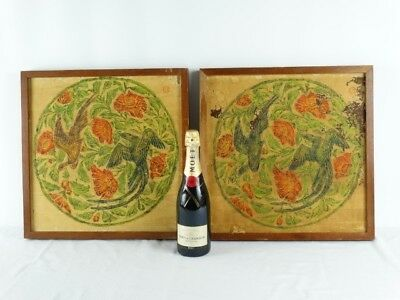 2 Framed Chinese Han Dynasty Style Pictures of Rubbings Pheasants & Flowers